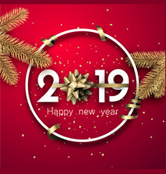 red 2019 happy new year card with golden bow and vector image
