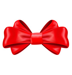 red silk ribbon bow decoration element vector image