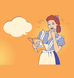 Retro young woman with cooking book pop art vector