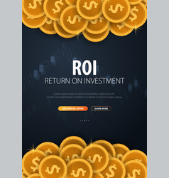return on investment roi market and finance vector image