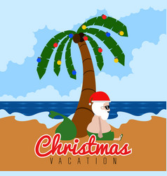 Santa claus on a beach christmas summer vacations vector