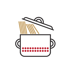 Saucepan with spaghetti vector