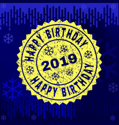 scratched happy birthday stamp seal on winter vector image
