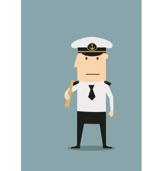 Sea captain in uniform with spyglass vector image