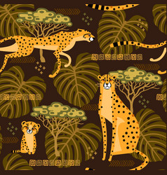 Seamless pattern with cheetahs leopards in the vector