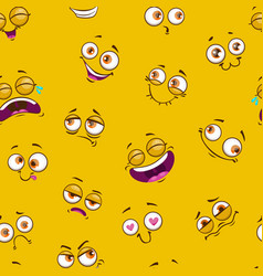 Seamless pattern with funny comic faces on yellow vector
