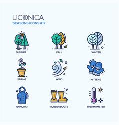 seasons - coloured modern single line icons set vector image