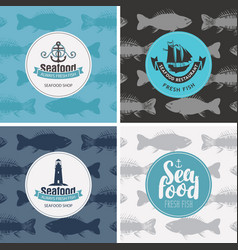 set banners for seafood shop and vector image