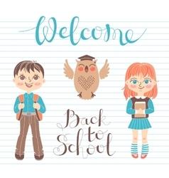 Set educational elements design students girl vector
