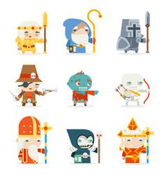 set fantasy rpg game heroes villains character vector image