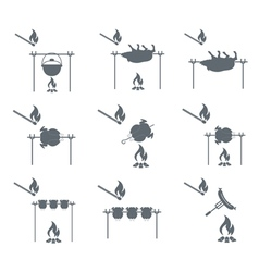 Set of 9 coocing on campfire icons vector