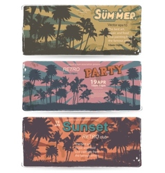 set vintage summer banners with palm trees vector image