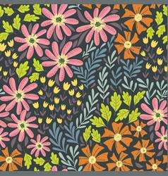 simple wild flowers pattern 02 vector image