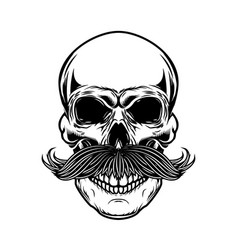 Skull with moustache isolated on white background vector