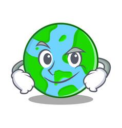 Smirking world globe character cartoon vector