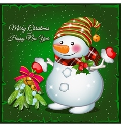 Snowman with brooch vector