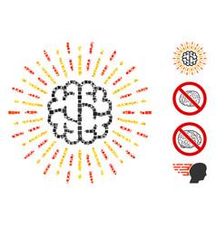 Square brain radiance icon collage vector