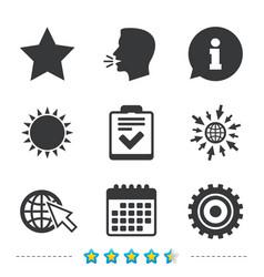 Star and globe signs checklist gear vector