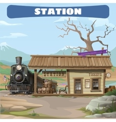 Station and train of the 19th century in wild west vector