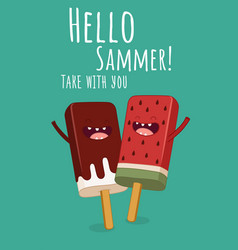 summer greeting card cute with vector image