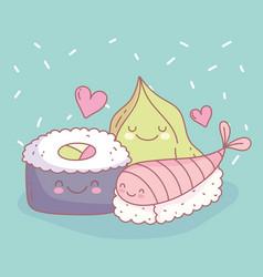 sushi fish and wasabi menu restaurant food cute vector image