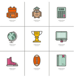 Teacher s day set of icons vector