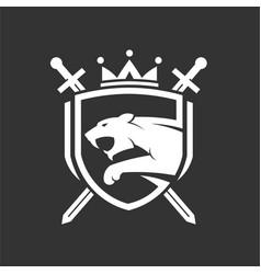 Tiger head with two crossed swords shield logo vector