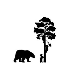 Two bear cubs climbing tree black silhouette vector