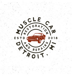 vintage muscle car garage logo vector image