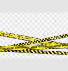 warning ribbon realistic barricade tape black vector image