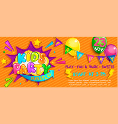 wide super banner for kids party in cartoon style vector image