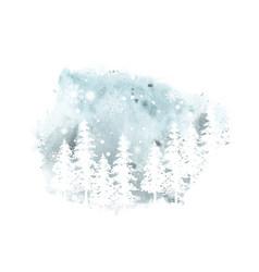 winter christmas watercolor art card vector image