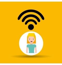 woman cartoon wifi wireless internet design vector image