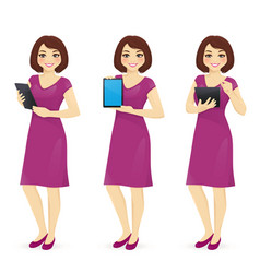 woman in dress with tablet vector image