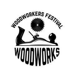 Woodworks emblem template with carpenter jointer vector