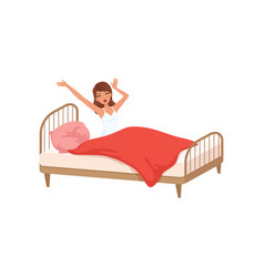 young woman waking up beginning a good day people vector image