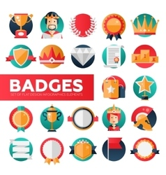 Badges ribbons awards icons set vector image