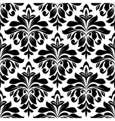 Black floral damask seamless pattern vector image
