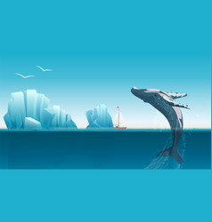 card template with whale jumping under the blue vector image vector image