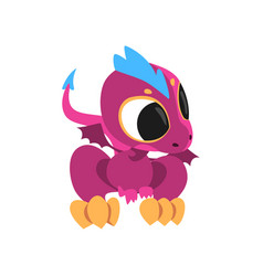 cartoon baby dragon with big eyes little wings vector image vector image