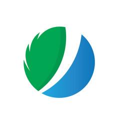 circle leaf eco nature logo vector image vector image