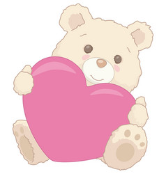 cute little teddy bear holding a heart valentine vector image vector image