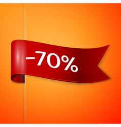 Red ribbon with inscription 70 percent discounts vector image vector image