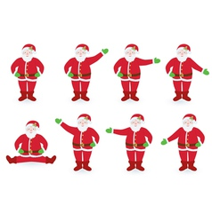 set of pointing Santa Clauses vector image