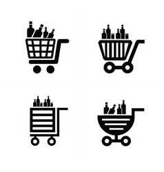 shopping cart icons and drink vector image vector image