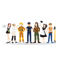 a group of people of different professions design vector image vector image