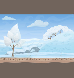 beautiful winter game style flat landscape vector image vector image