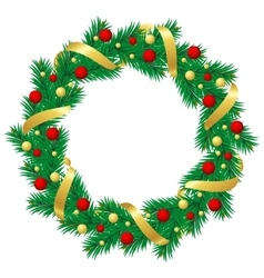 Christmas wreath with baubles and christmas tree vector image vector image
