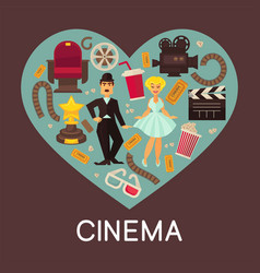 cinema commercial banner with cinematographic vector image vector image