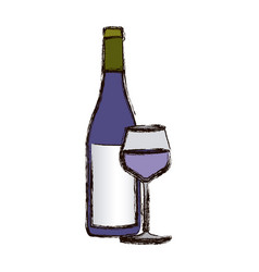 color blurred silhouette with bottle of wine and vector image